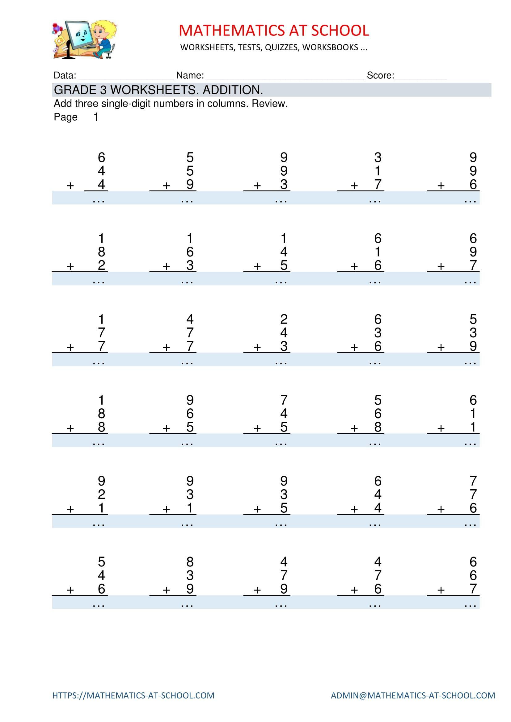 Grade 3 Maths Worksheets: Addition Adding Three 1-Digit for Printable Multiplication Sheets For Grade 3