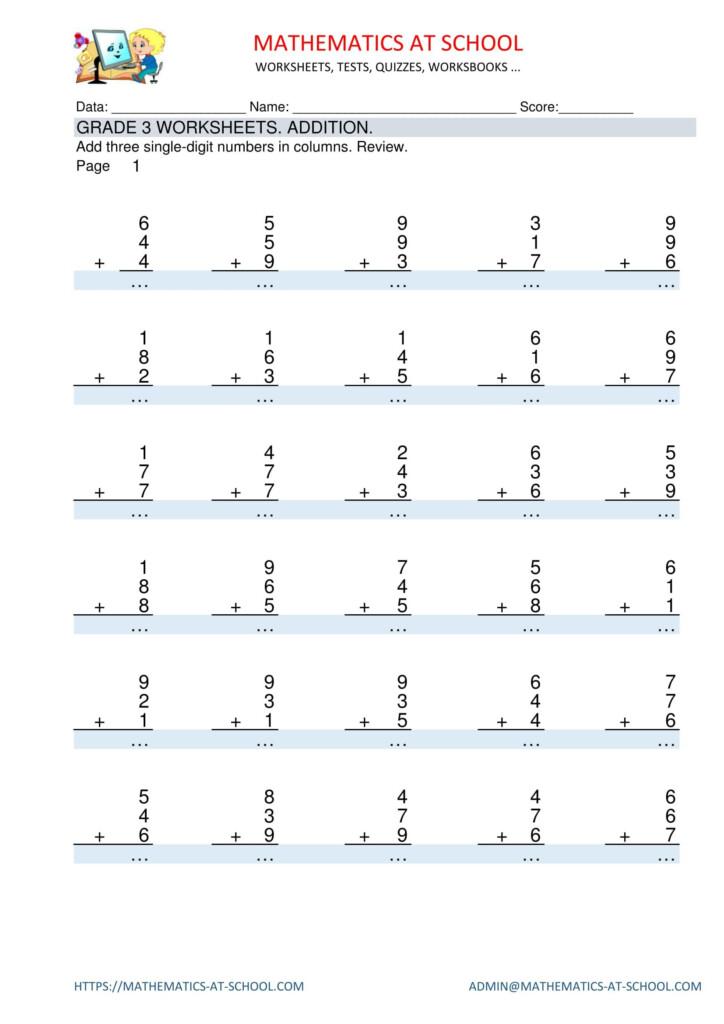Grade 3 Maths Worksheets: Addition Adding Three 1 Digit For Printable Multiplication Worksheets Grade 3