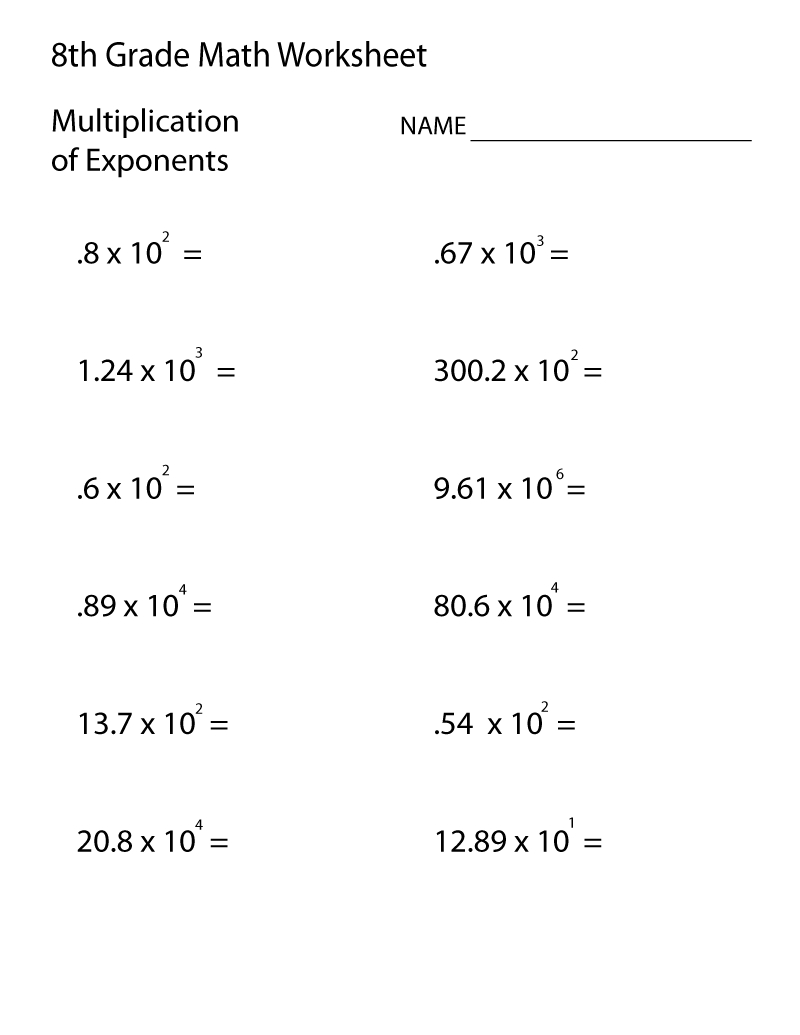 Grade 8 Math Worksheets | 8Th Grade Math Worksheets, 8Th for Multiplication Worksheets 8Th Grade