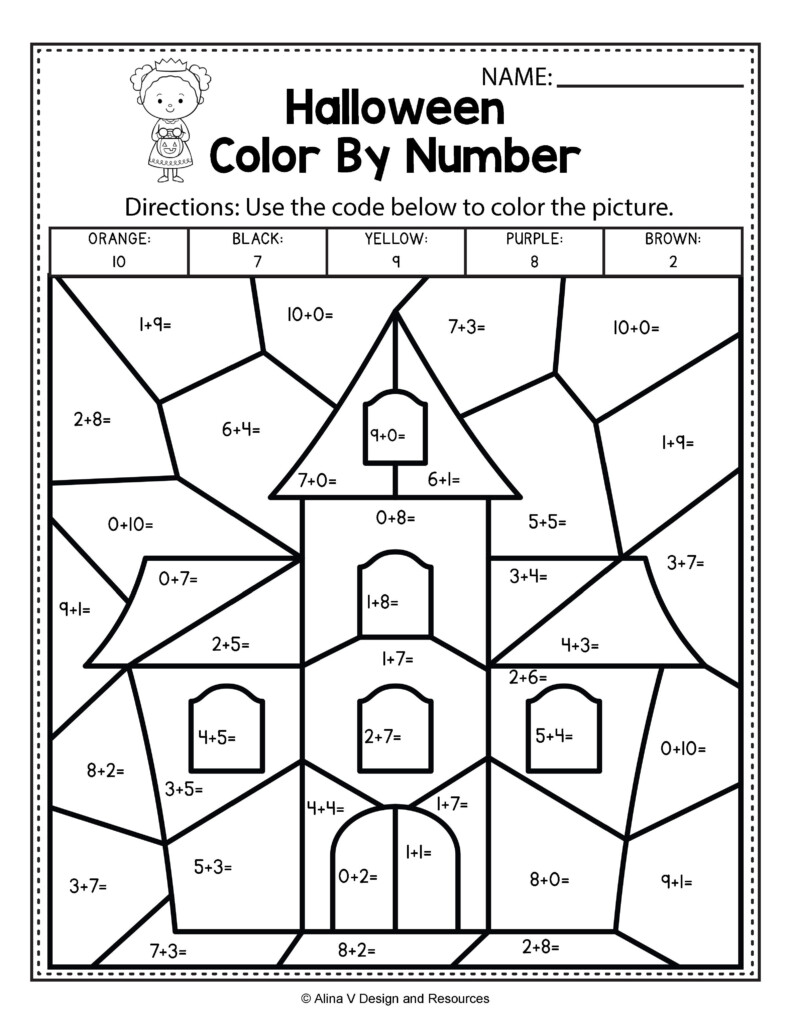 Halloween Math & Literacy Activities For Kindergarten, 1St Within Printable Halloween Multiplication Worksheets