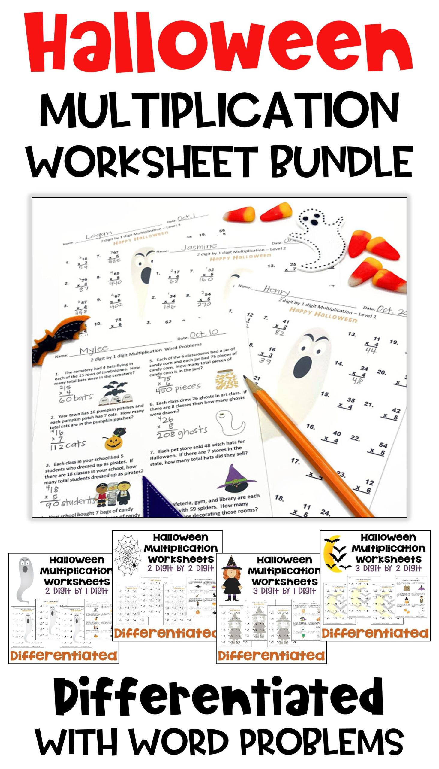 Halloween Math Multiplication Worksheet Bundle in Printable Halloween Multiplication Worksheets