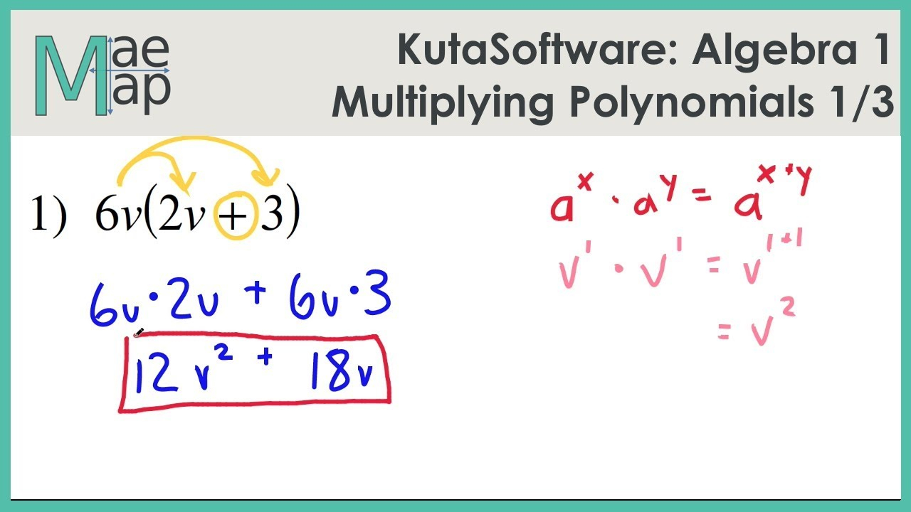 Kutasoftware: Algebra 1- Multiplying Polynomials Part 1 for Worksheets About Multiplication Of Polynomials