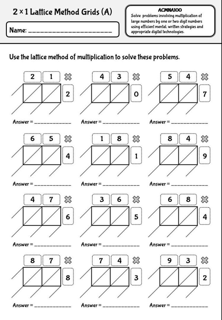 Lattice Method Of Multiplication Worksheets With Australian In Multiplication Worksheets Lattice Method