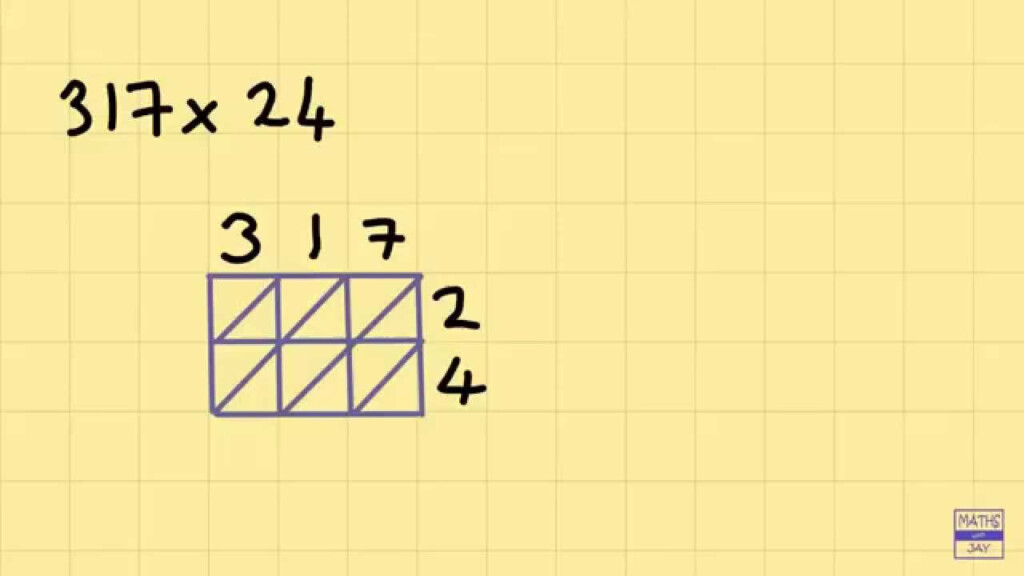 Lattice Multiplication Intro: 3 Digits Times 2 Digits For Multiplication Worksheets Lattice