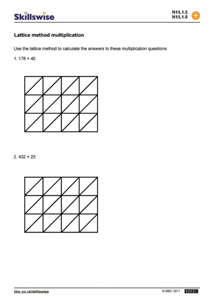 Lattice Multiplication Worksheets & 2 Digit Times 1 Digit For Multiplication Worksheets Lattice Method
