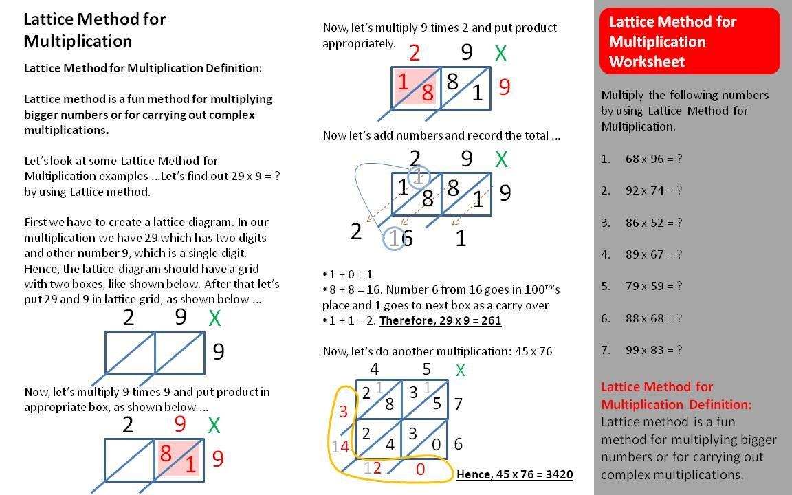 Lattice Multiplication Worksheets |  Multiplication with regard to Multiplication Worksheets Lattice Method