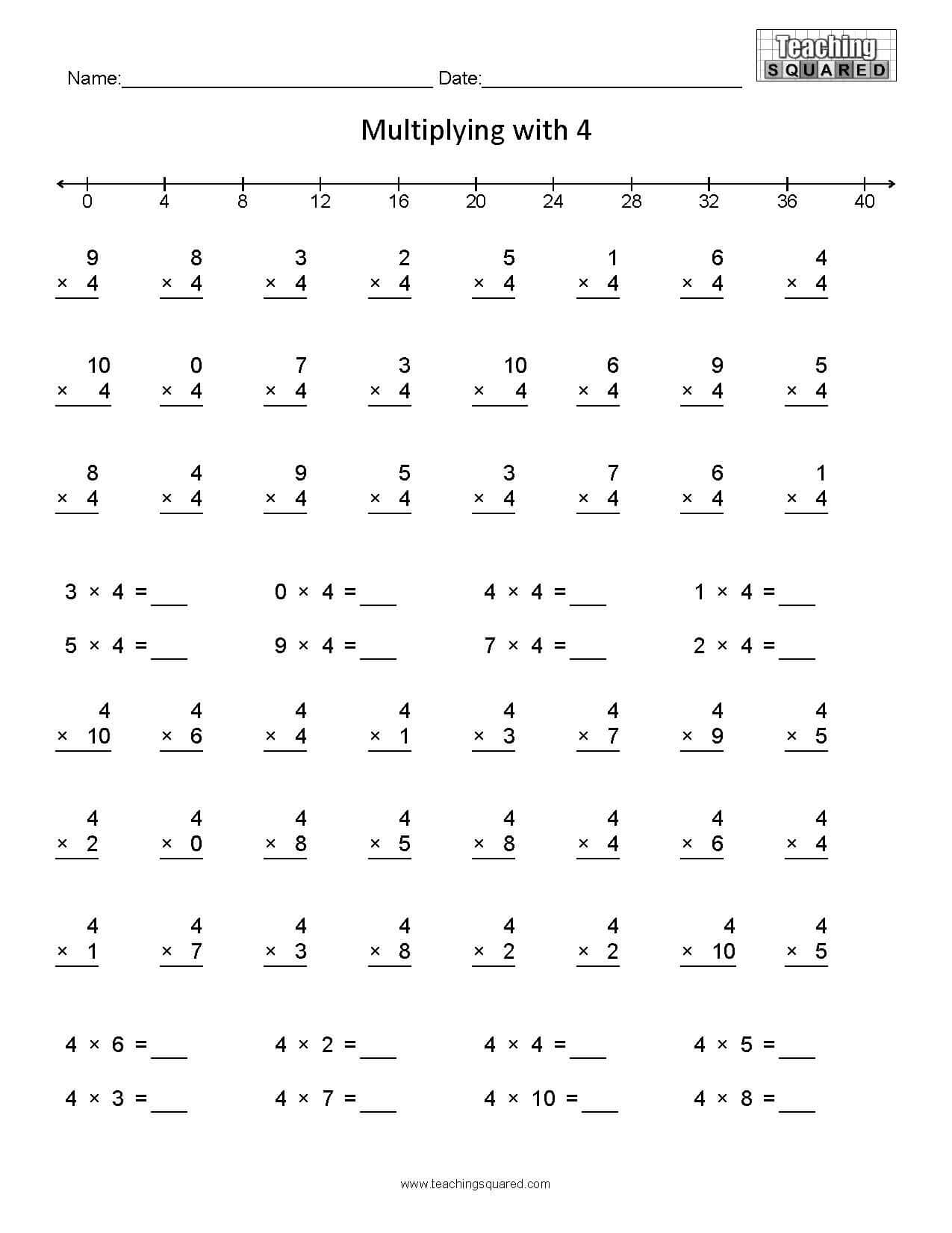 Learning Multiplication- Multiplying4 - Teaching Squared intended for Connect 4 Multiplication Printable