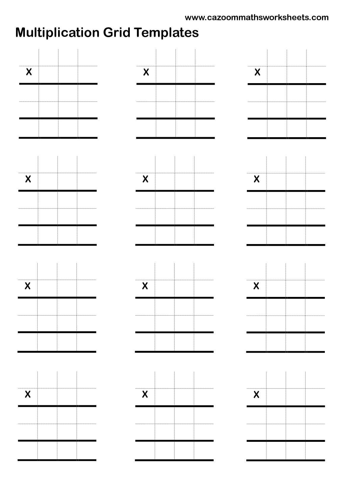 Long Multiplication Column Method Grids | Math Worksheets within Multiplication Worksheets On Grid Paper