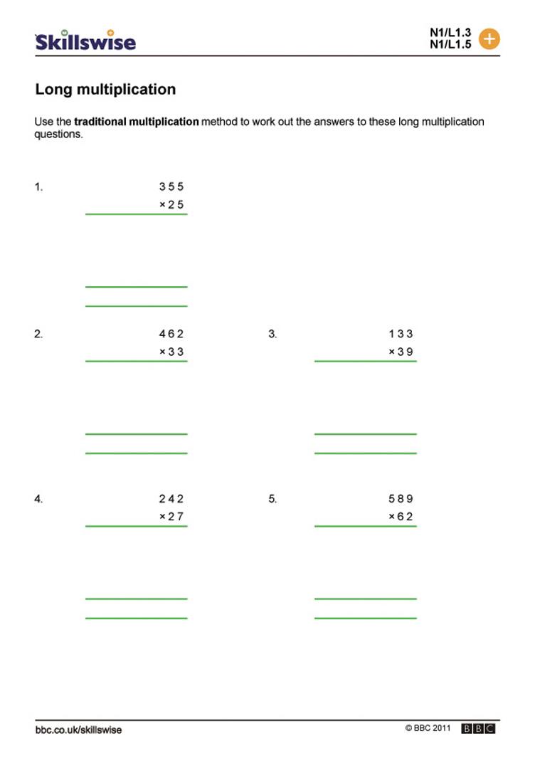 Long Multiplication Worksheets Ks2 & Multiplication Word in Multiplication Worksheets Ks3 Tes