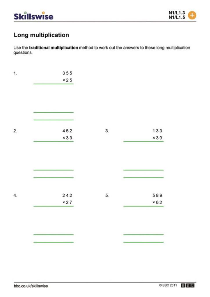 Long Multiplication Worksheets – Mreichert Kids Worksheets Throughout Multiplication Worksheets Ks3