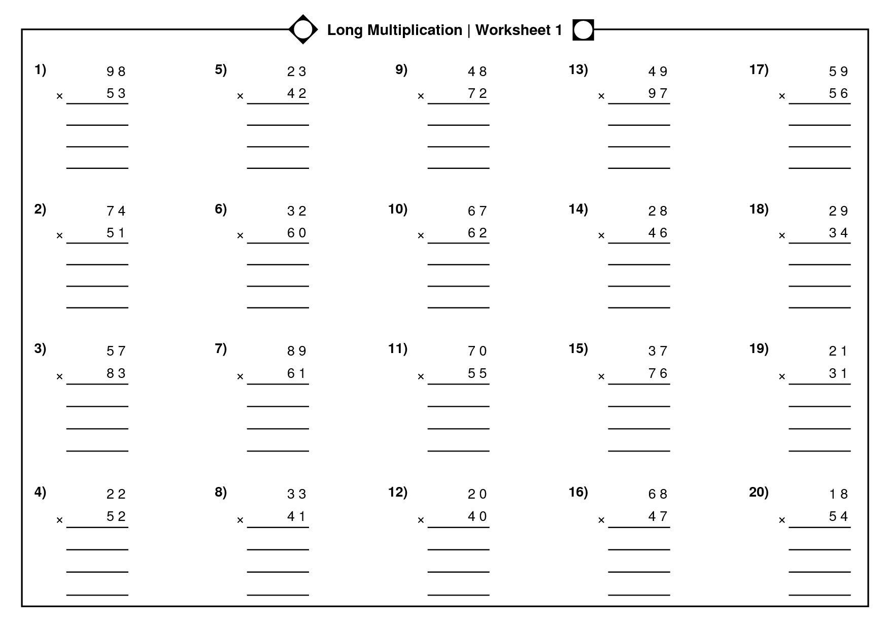 Long Multiplication Worksheets – Mreichert Kids Worksheets throughout Worksheets Long Multiplication