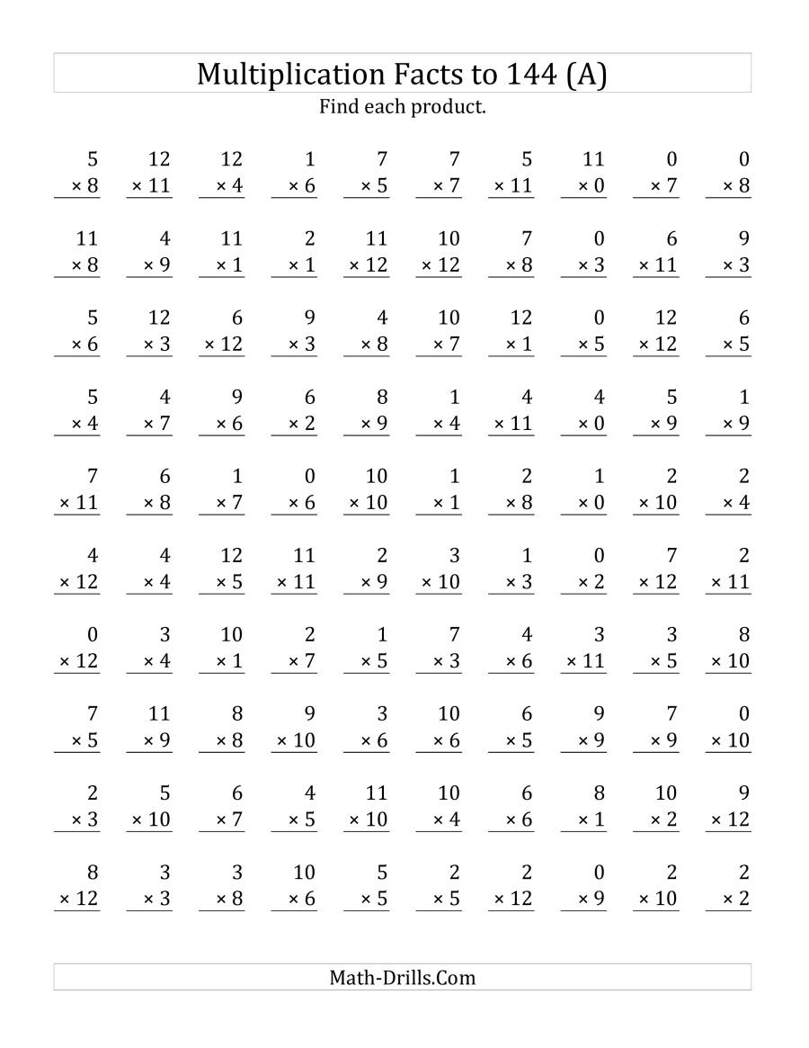 Math Drills Multiplication Chart - Vatan.vtngcf in Printable Multiplication Math Worksheets