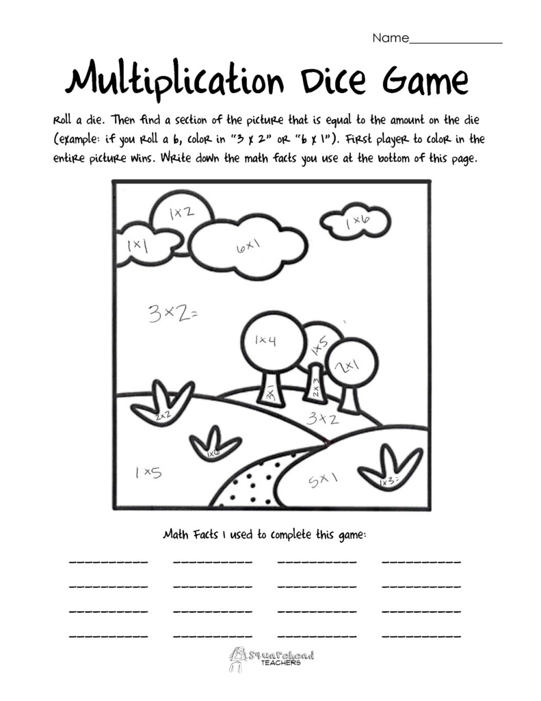 Math Games   Squarehead Teachers   Page 2 With Regard To Printable Multiplication Games With Dice