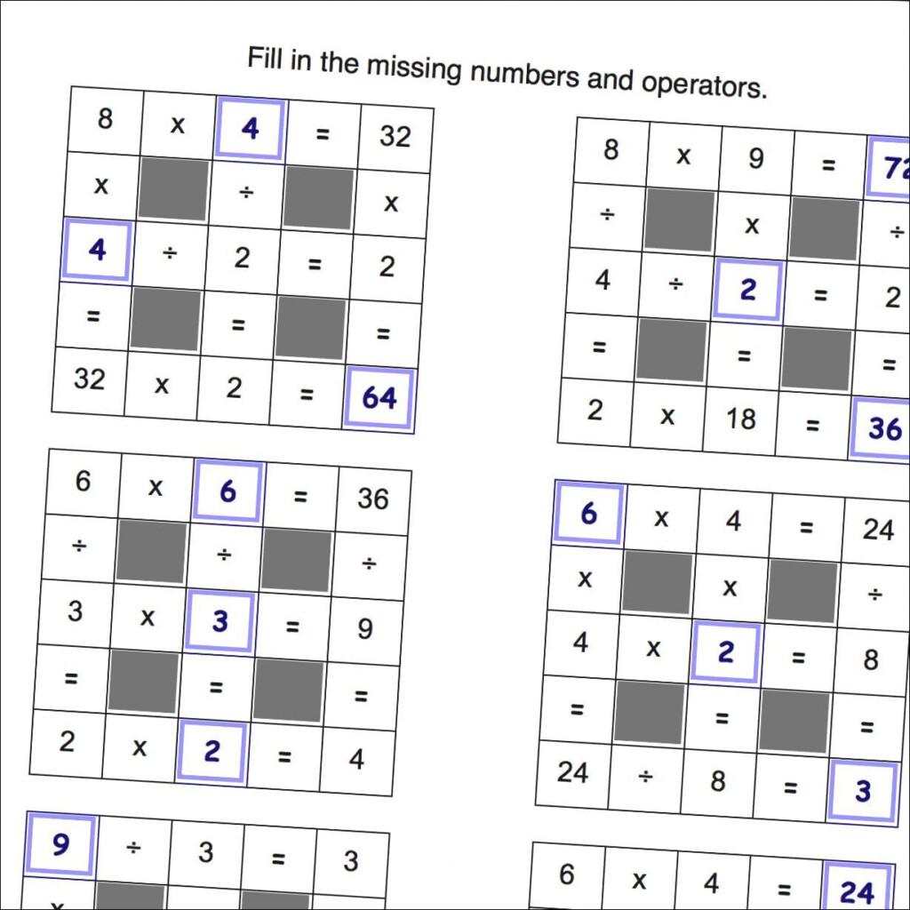 Math Worksheets: Multiplication And Division Grid Puzzle Regarding Free Printable Multiplication Riddle Worksheets