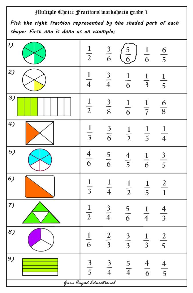 Multiple Choice For Grade 1 #fractionworksheets3Rdgrade Pertaining To Multiplication Worksheets Multiple Choice