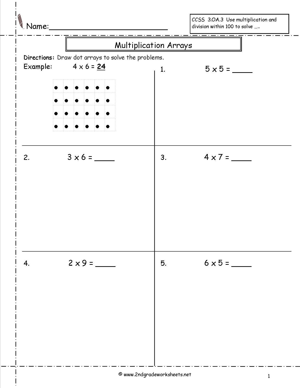 Multiplication Array Worksheets   Array Worksheets, Math throughout Worksheets Multiplication Arrays