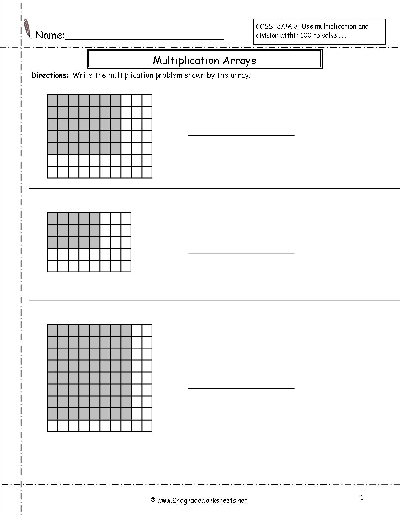 Multiplication Arrays Worksheets inside Worksheets Multiplication Arrays