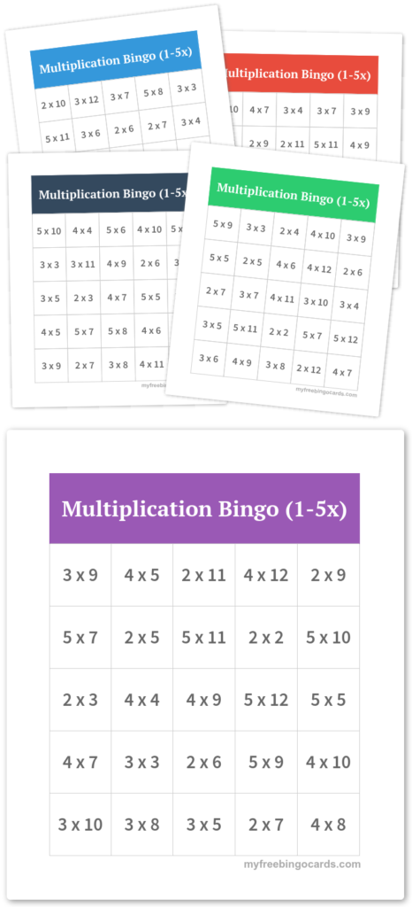 Multiplication Bingo (1 5X) | Free Printable Bingo Cards Intended For Printable Multiplication Bingo