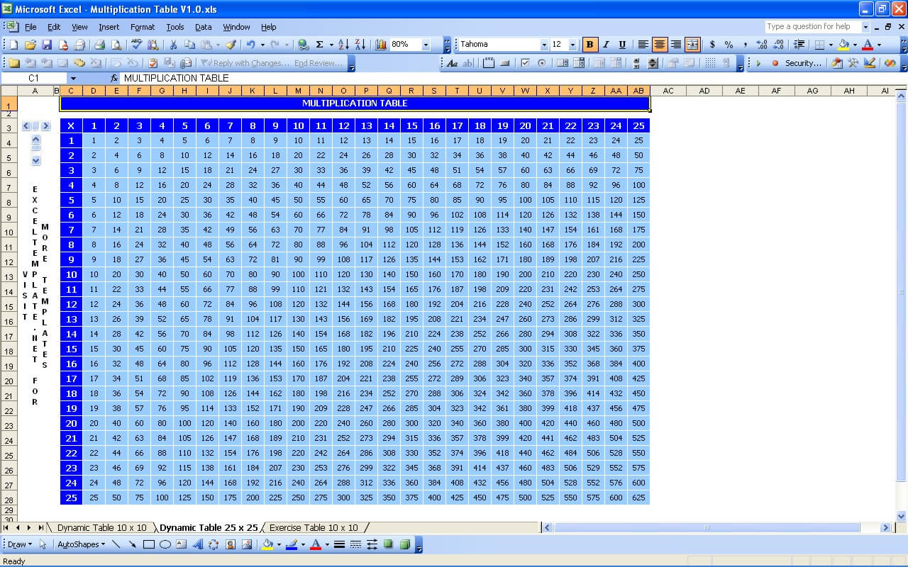 Multiplication Chart 1-100 pertaining to Printable Multiplication Table 25X25