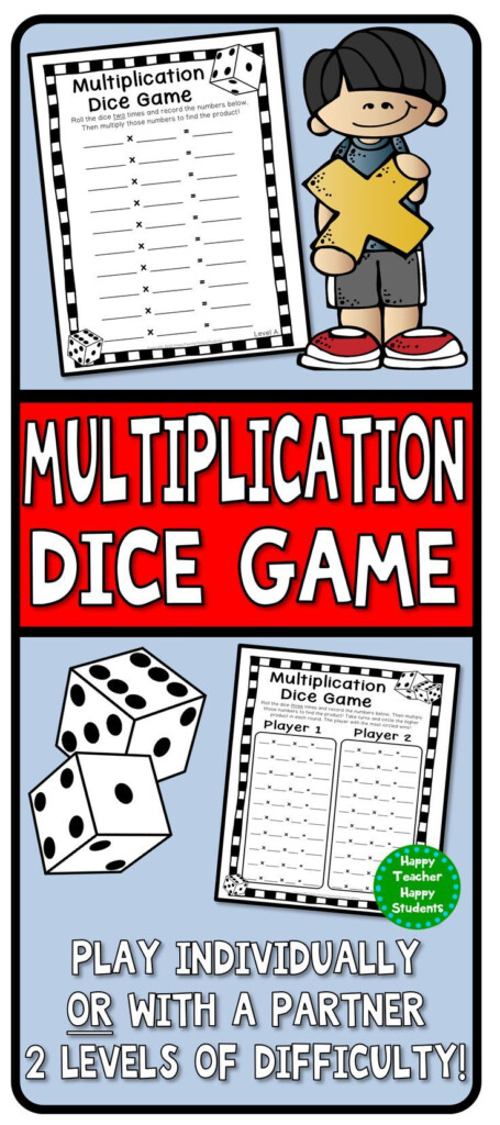 Multiplication Dice Game: 4 Versions Included With Printable Multiplication Games With Dice