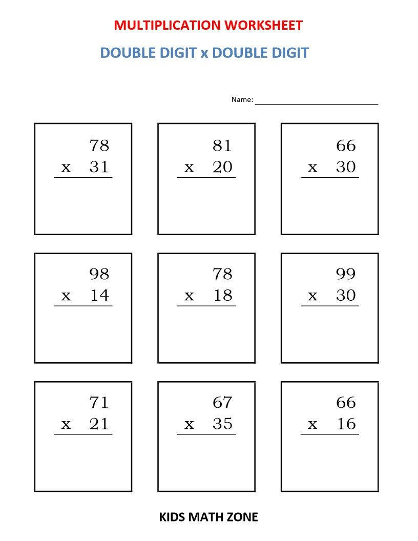 Multiplication Double Digit X Double Digit (10 Worksheets regarding Multiplication Worksheets Year 5/6