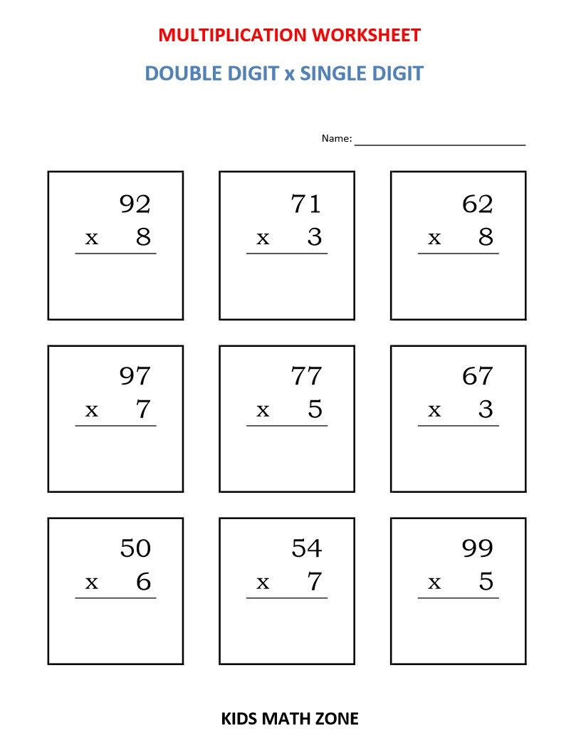 Multiplication Double Digit X Single Digit (10 Worksheets in Printable Multiplication Worksheets Pdf