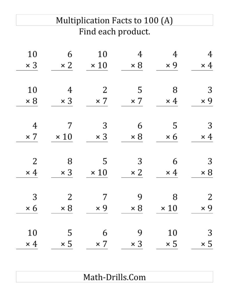 Multiplication Facts To 100 No Zeros Or Ones (36 Questions Within Multiplication Worksheets Zero And Ones