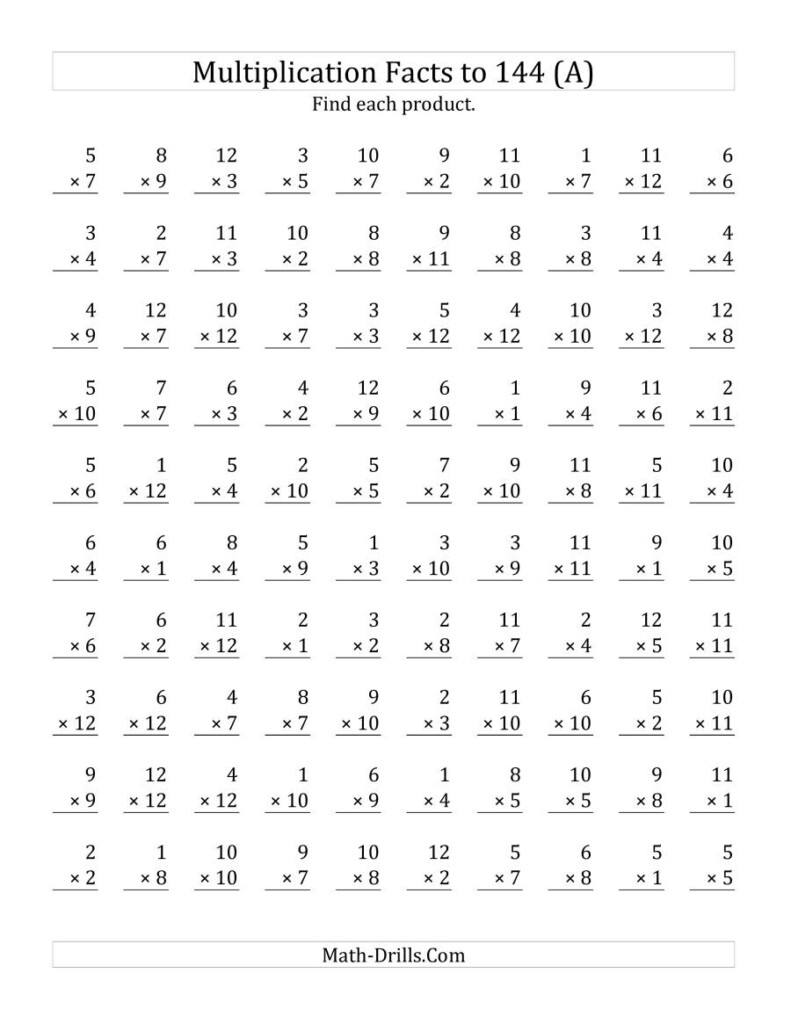 Multiplication Facts To 144 No Zeros (A) In Printable Multiplication Drill Worksheets