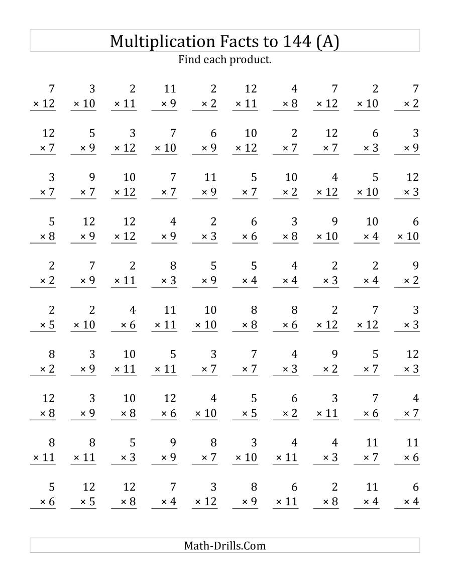 Multiplication Facts To 144 No Zeros No Ones (A) with regard to Multiplication Worksheets X12
