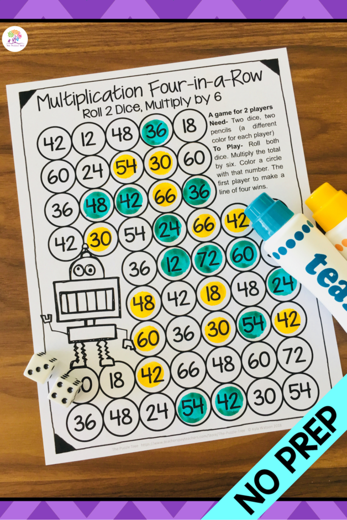 Multiplication Games Printable: Four In A Row Math Games For Inside Printable Multiplication Games Ks2