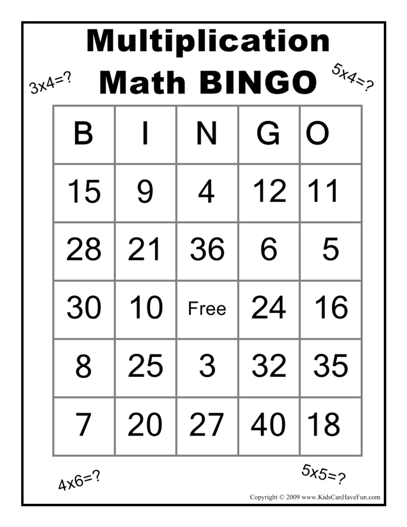 Multiplication Math Bingo Game   Math Bingo, Math, Fun Math With Regard To Printable Multiplication Bingo Game