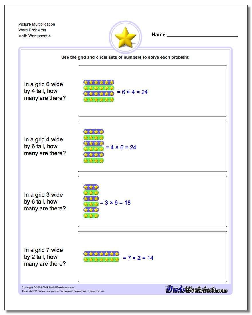 Multiplication Picture Word Problems throughout Printable Multiplication Word Problems