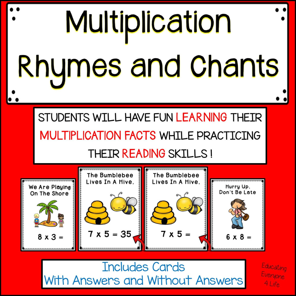 Multiplication Rhymes And Chants | Teaching Multiplication With Printable Multiplication Rhymes