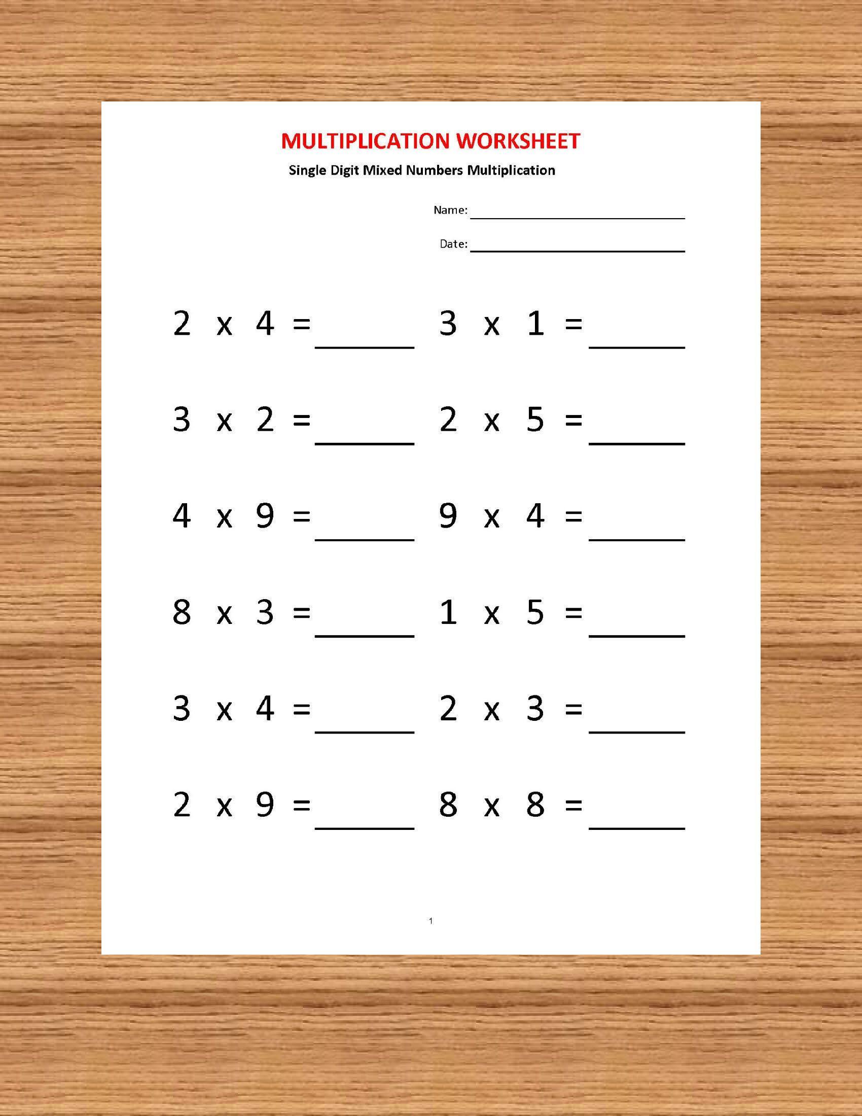 Multiplication Single Digit Practice Worksheets (40 throughout Multiplication Worksheets Year 2 Pdf