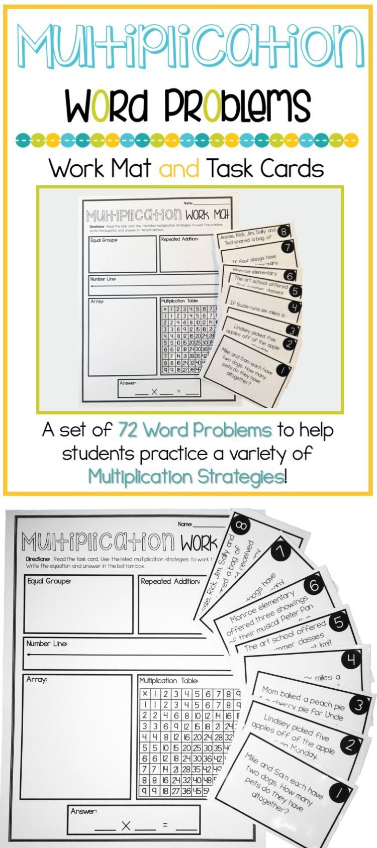 Multiplication Word Problems 3Rd Grade Work Mat & Task Cards within Printable Multiplication Strategy Mat