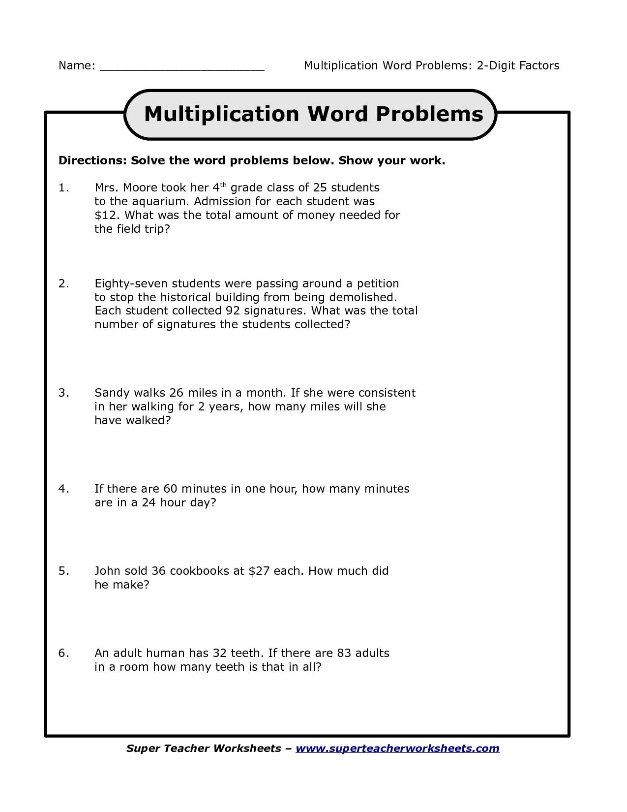 Multiplication Worksheets For 3Rd Grade Story Problems for Printable Multiplication Word Problems 3Rd Grade