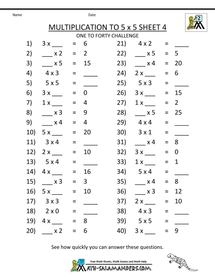 Worksheets About Multiplication