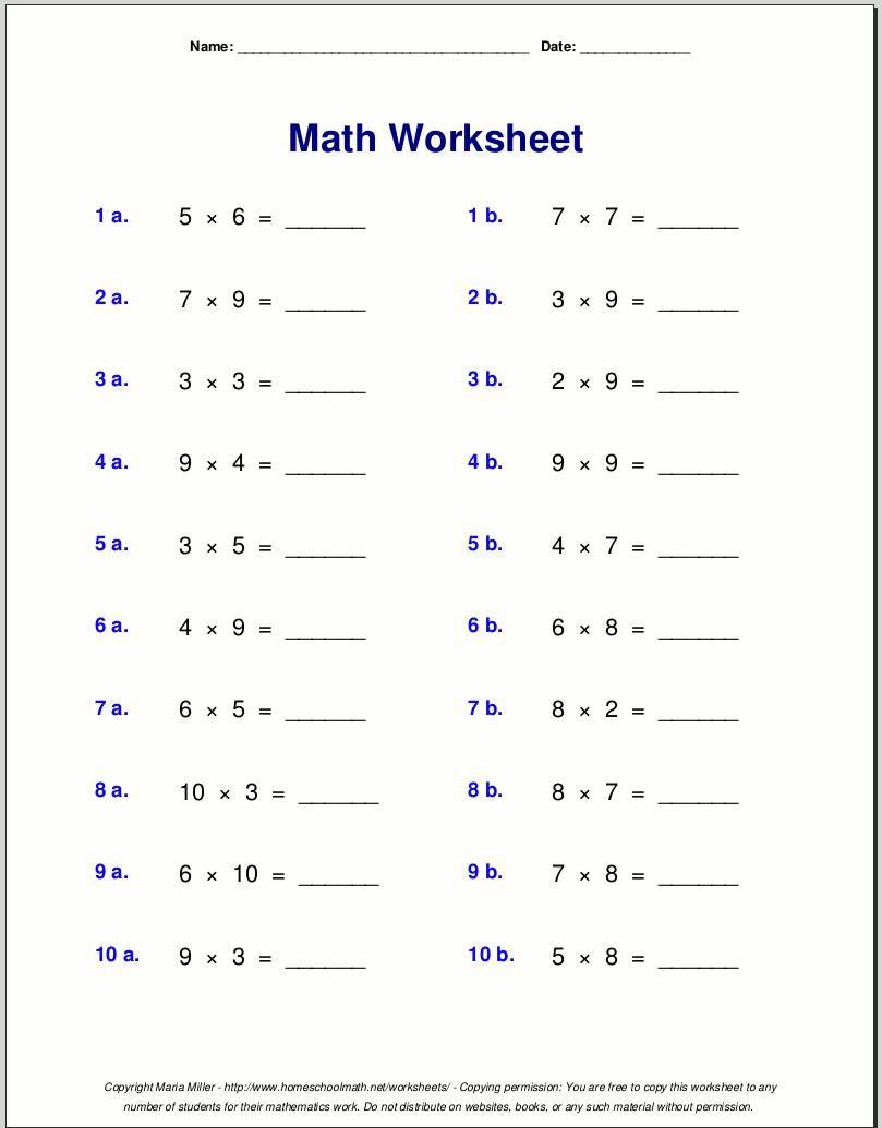 Multiplication Worksheets Grade 4 | Free Math Worksheets with Printable Multiplication Problems For 4Th Grade