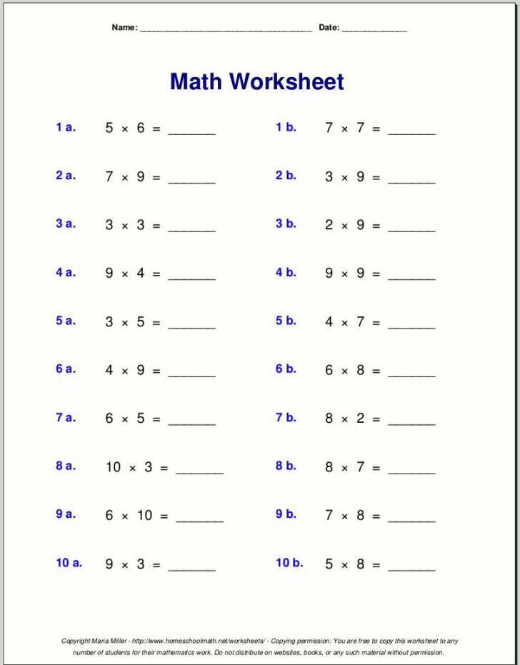 Worksheets On Multiplication For Grade 4