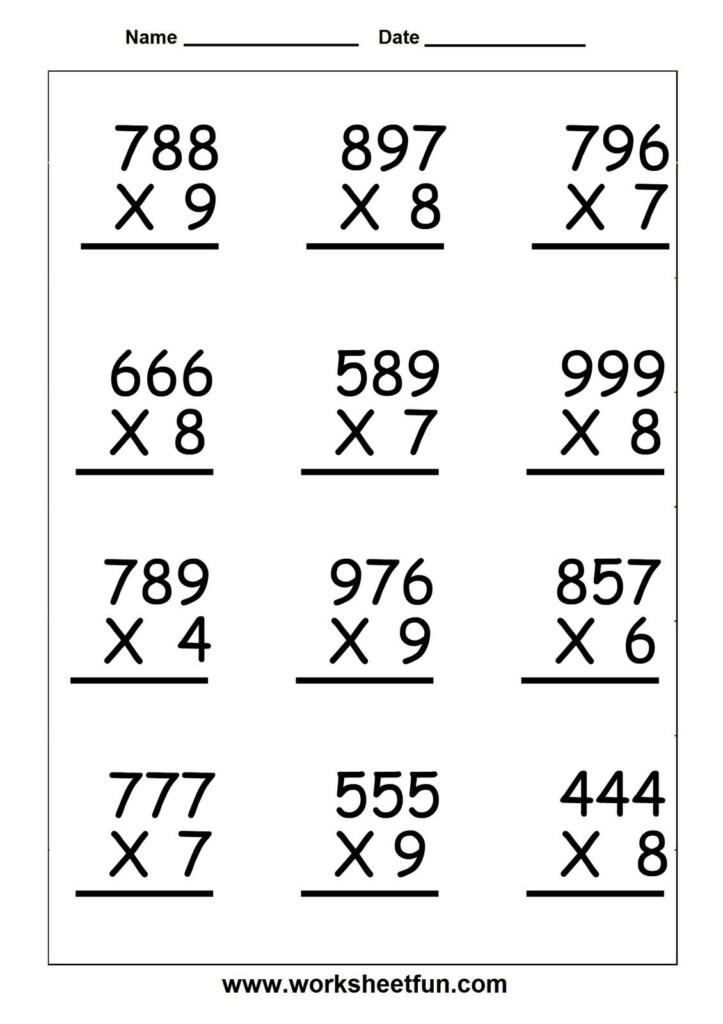 Multiplication Worksheets Grade 5 Free | Atividades De For Printable Multiplication Worksheets 5Th Grade