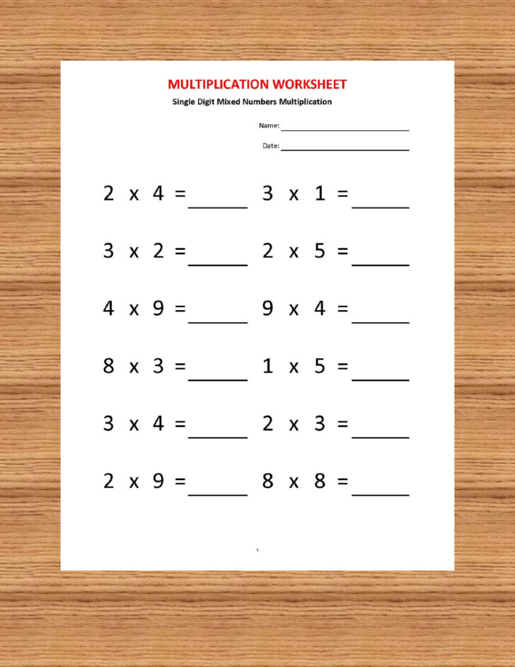 Multiplication Worksheets Year 4 Pdf