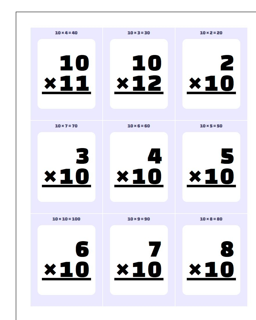 Multiplication10, 11, 12 Flash Cards with Multiplication Worksheets X12