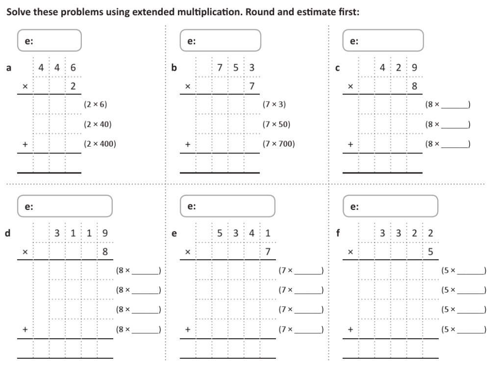 Multiply Numbers Up To 4 Digitsa One  Or Two Digit Inside Multiplication Worksheets Ks2 Year 4
