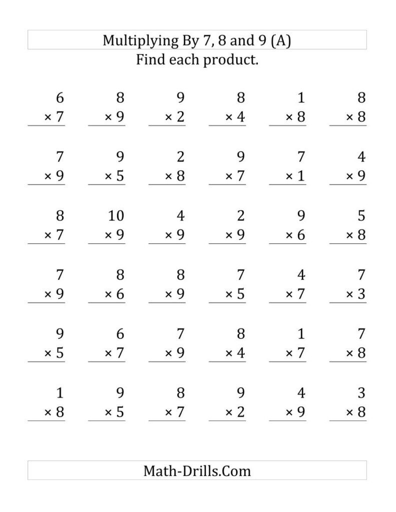 Multiplying (1 To 10)(7, 8 And 9) (36 Questions Per Page In Multiplication Worksheets 7 8 9