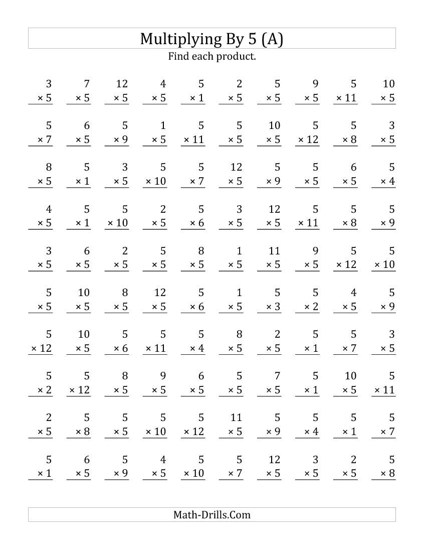 Multiplying 1 To 125 (All) | Multiplication Facts with regard to Multiplication Worksheets Numbers 1-5