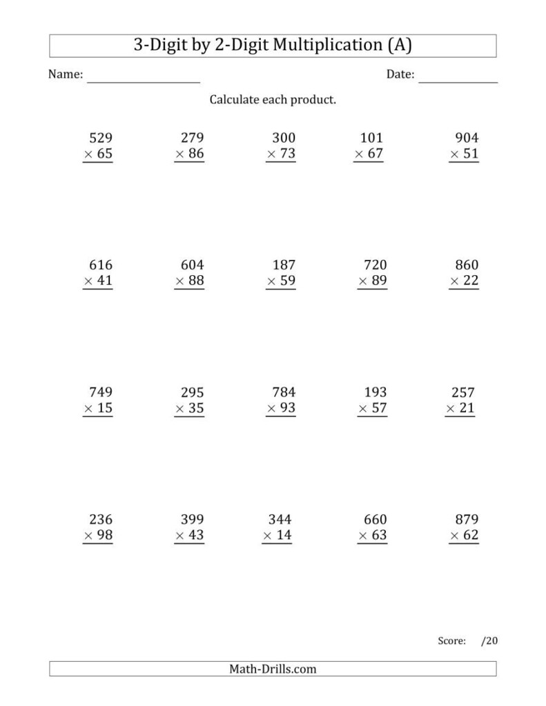 Multiplying 3 Digit2 Digit Numbers (A) With Printable Multiplication By 3 Worksheets