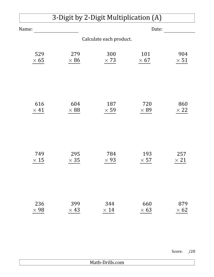 Multiplying 3-Digit2-Digit Numbers (A) with Printable Multiplication By 3 Worksheets