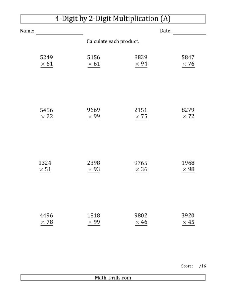 Multiplying 4 Digit2 Digit Numbers (A) Pertaining To Printable Multiplication Worksheets 4's