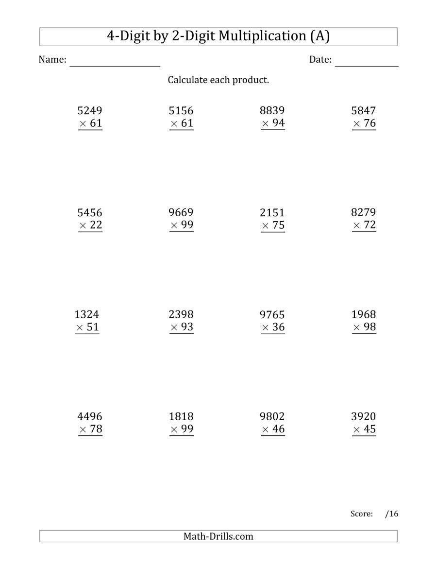 Multiplying 4-Digit2-Digit Numbers (A) pertaining to Printable Multiplication Worksheets 4's