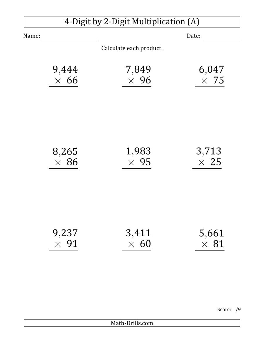 Multiplying 4-Digit2-Digit Numbers (Large Print) With with regard to Multiplication Worksheets 4 Digit By 3 Digit
